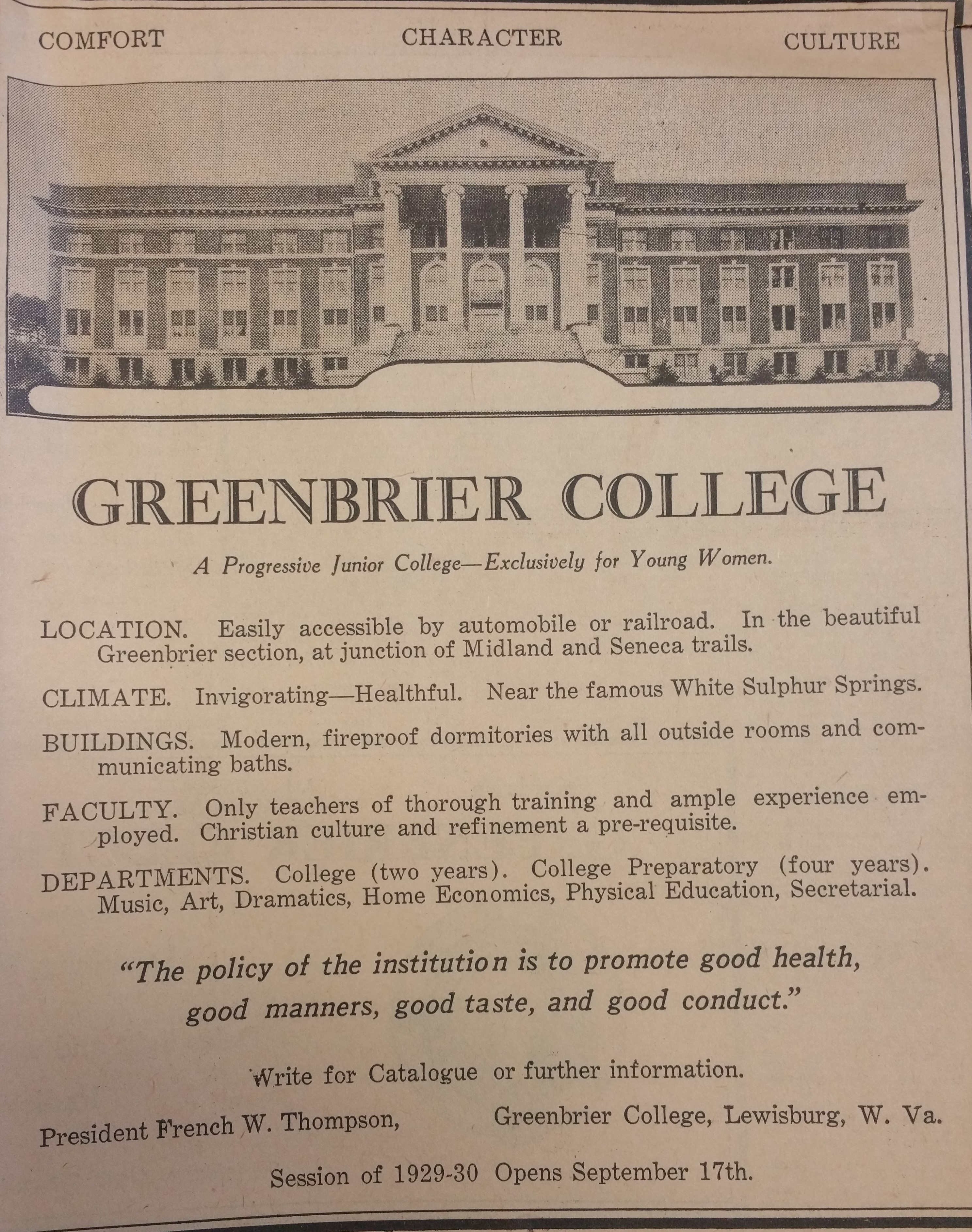 Advertisement for Greenbrier Women's College found in a newspaper located in Marshall University Special Collections vertical files.