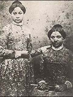The Edmonson sisters Mary (left) and Emily (right). Shortly after their enrollment Mary contracted tuberculosis and died. After graduation Emily became a teacher as well as an abolitionist activist until her death in 1895 (Public Domain Image).