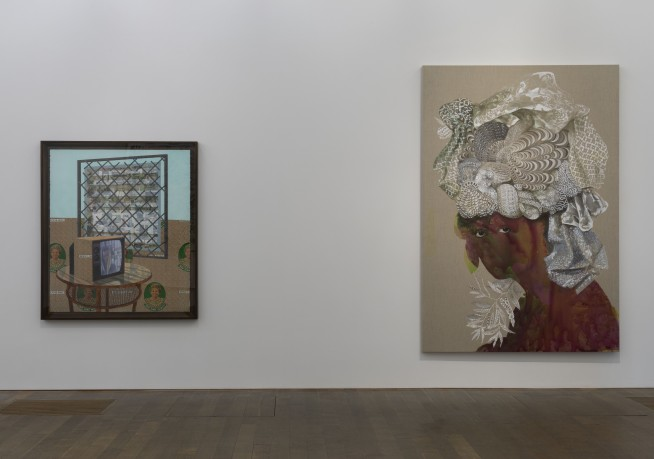 Njideka Akunyili Crosby, See Through, 2016 (left). Firelei Báez, Sans-Souci (This threshold between a dematerialized and a historicized body), 2015 (right).