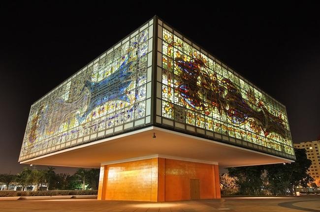 The Jewel Box (Annex) lit up at night.