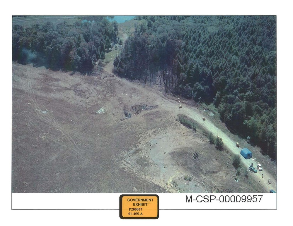 An Aerial View of the crash site taken in September 2001