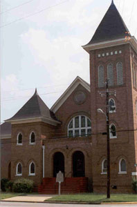 The structure was designed and built by members of the congregation in 1907.