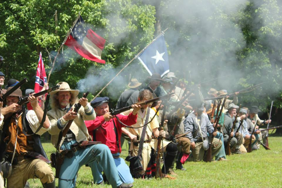A line of Confederate soldiers (2013 reenactment) Photo by Amber M. Wright