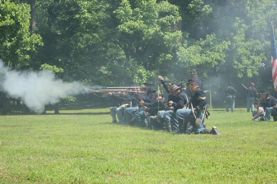 A line of firing Union soldiers (2013 reenactment) Photo by Amber M. Wright