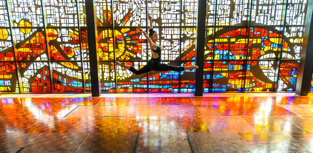 A dancer performs in the Jewel Box.