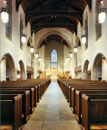 The sanctuary features features ornate stained stained glass windows brought to the city from a Boston manufacturer who designed the windows of many other leading church edifices.