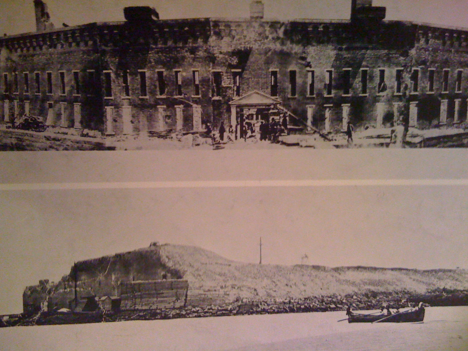 Historical photo compilation, comparing pre-Civil War Fort Sumter with post-Civil War Fort Sumter