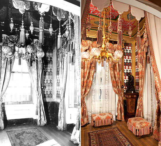 (left) Turkish Smoking Room, Historic American Buildings Survey (HABS) photo, 1935. 