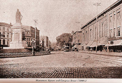 Monument Square and Congress Street in the 1890s