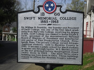 Historic marker for Swift College