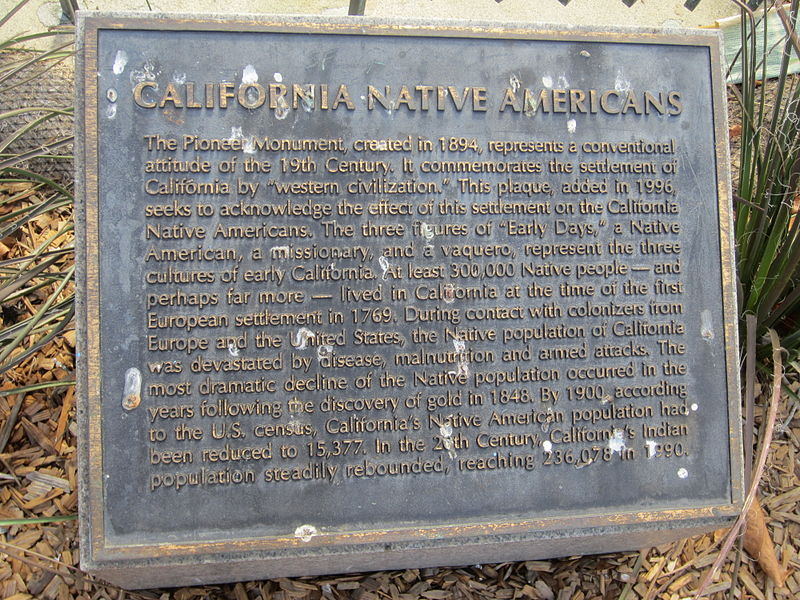This plaque offering information about the history of Native Americans in California was added in 1994.