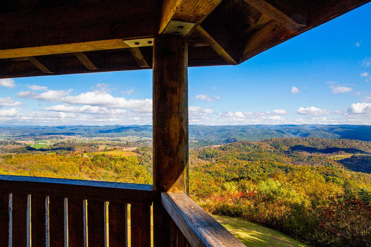 The view from Droop Mountain's Lookout Tower, designed to afford breathtaking views not only of the valley, but of the approach of the 14th Pennsylvania and the position of Averell's artillery.