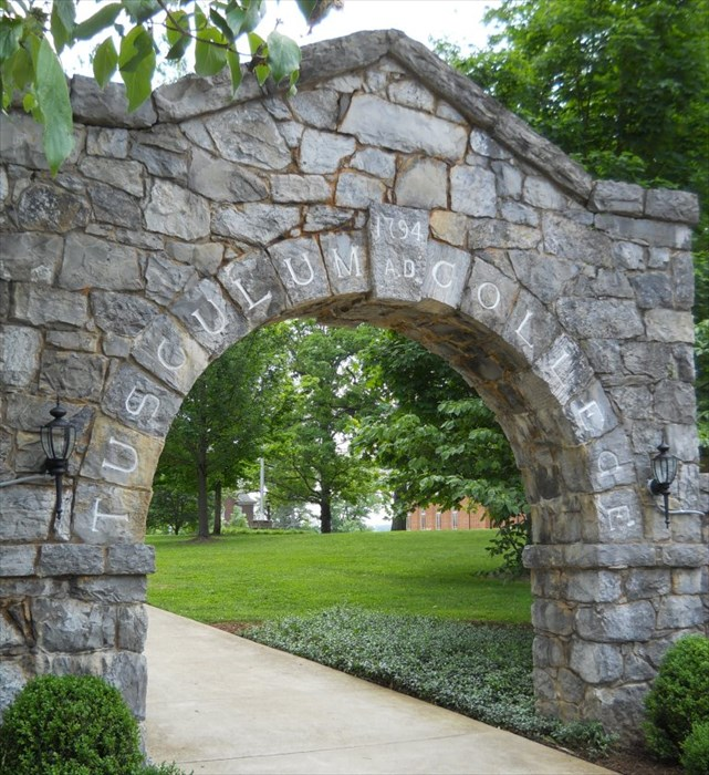 Original 1794 stone archway entrance to Tusculum College.