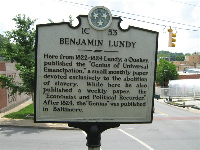 """Here from 1822-1824 Lundy, a Quaker, published the ""Genius of Universal Emancipation,"" a small monthly paper devoted exclusively to the abolition of slavery. While here he also published a weekly paper, the ""Economist and Political Recorder."""