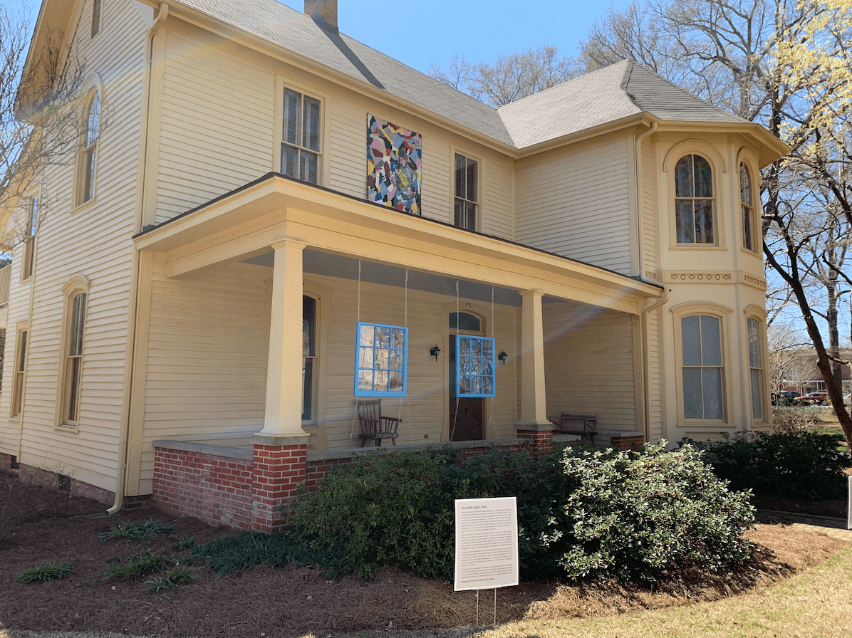 The Walton-Young House with the art installation added in 2019
