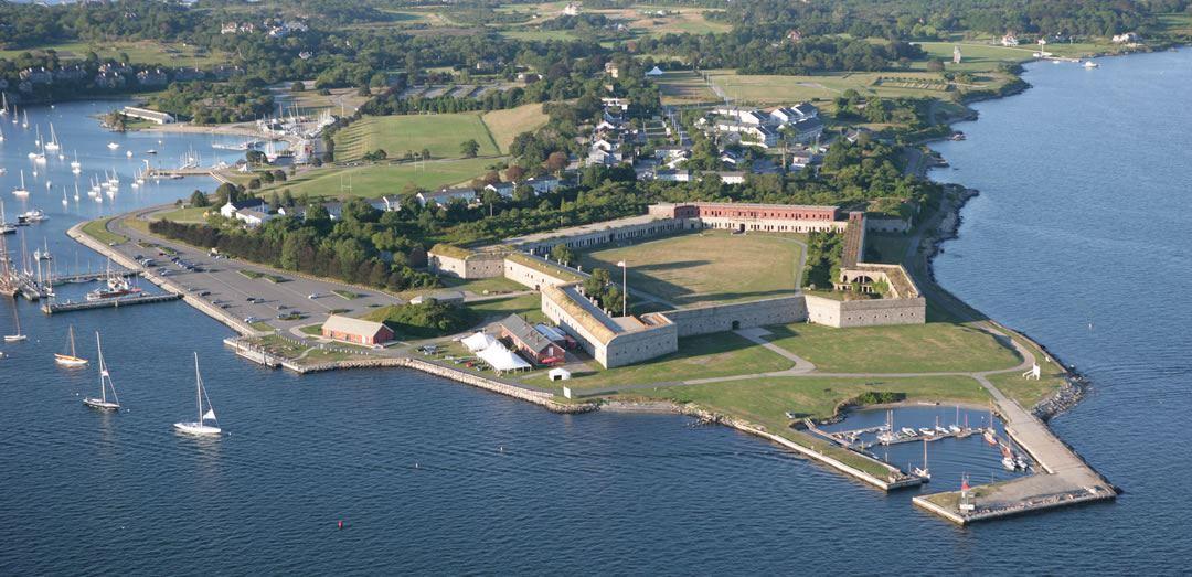 Aerial view of Fort Adams
