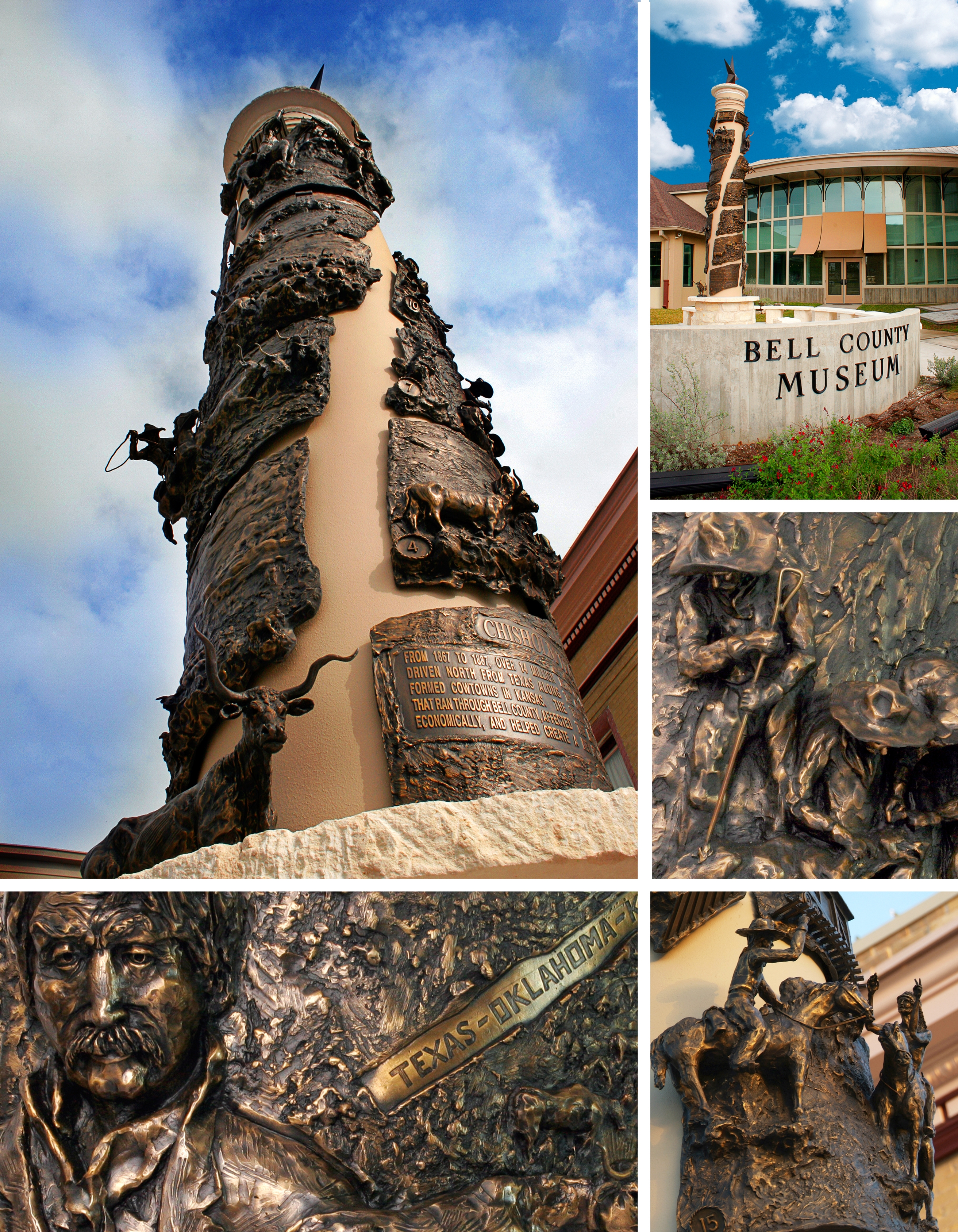"Guests can see sculptor Troy Kelly's work ""Up the Chisholm Trail"" when they visit the museum. The sculpture includes 17 bronze panels that tell the history of the Chisholm Trail."