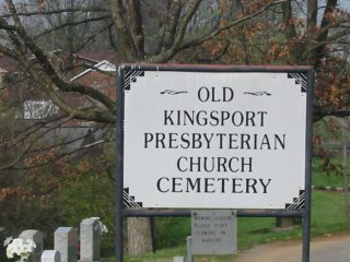 Old Kingsport Cemetery. Original log building church was located on this spot of land.