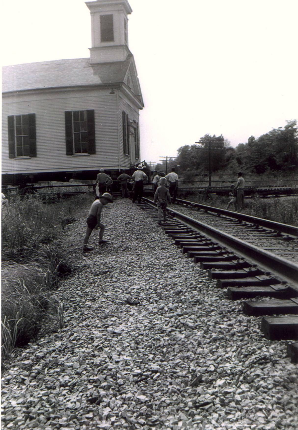 Scene from the church's move in 1953. It is clearly seen how the church was moved intact.