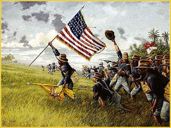 Painting of Battle of San Juan Hill and the Buffalo Soldiers. Alfred Martin Ray is depicted holding up US flag and charging up the hill.