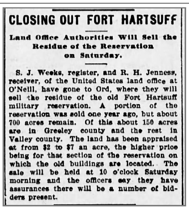 Closing of Fort Hartsuff Article 1898