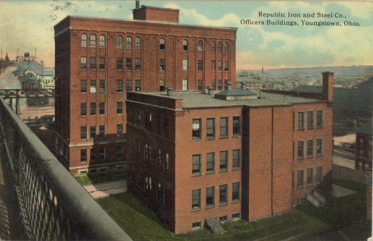 Republic Steel offices near the Market Street Bridge in downtown Youngstown, circa 1920.