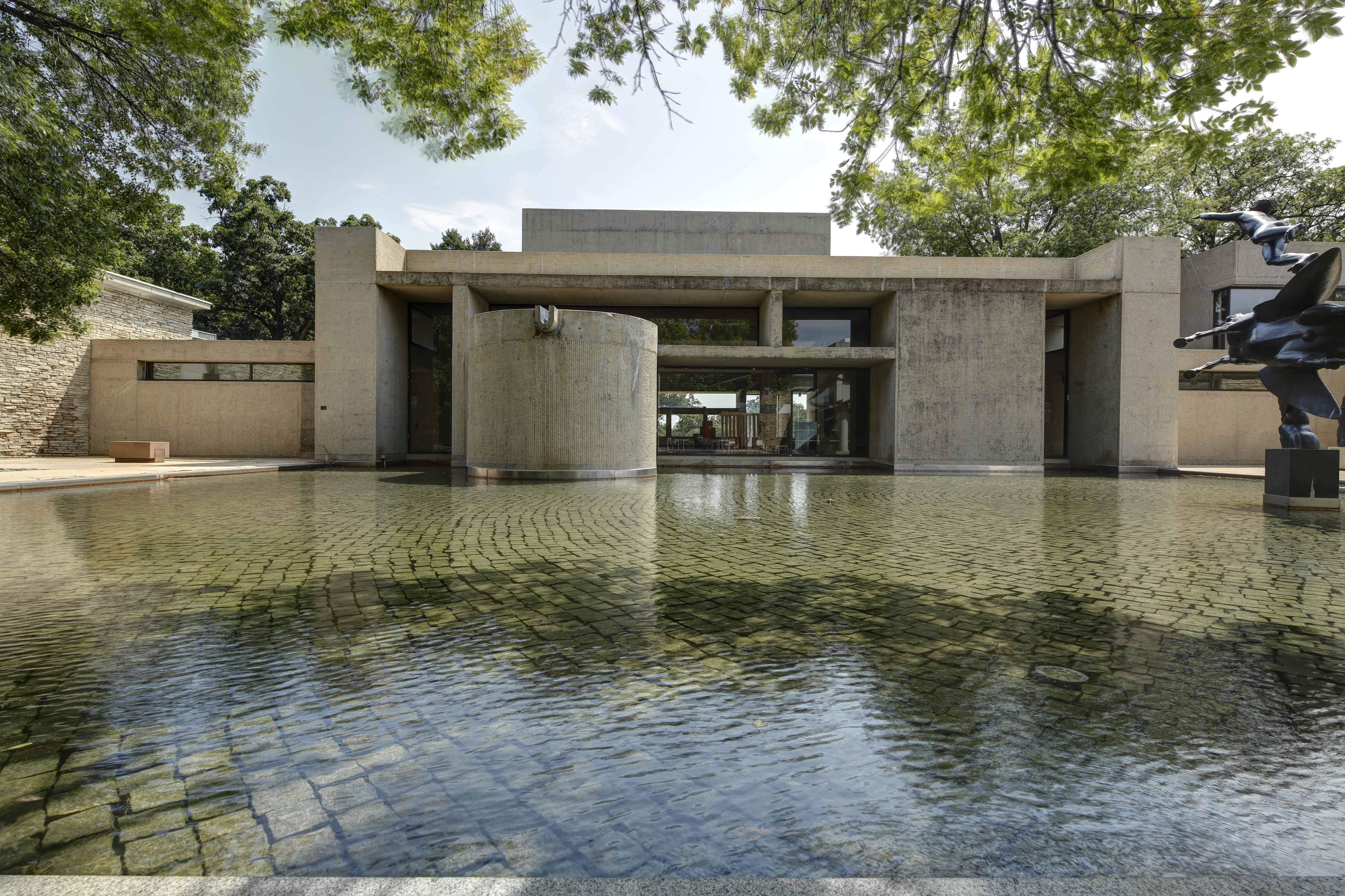I.M. Pei's addition with a reflection pool adjacent to it.