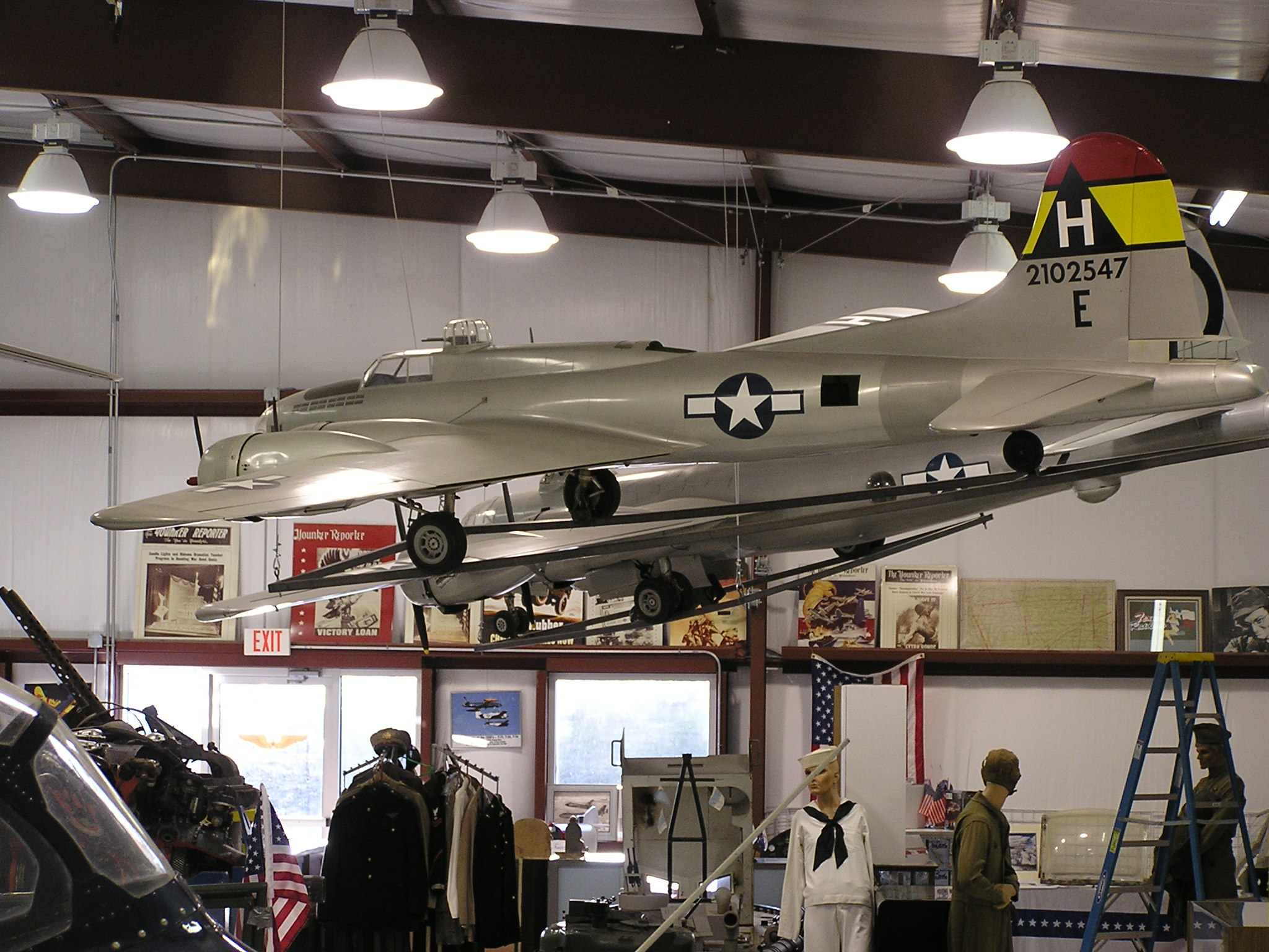 Two of the large models hanging from the ceiling