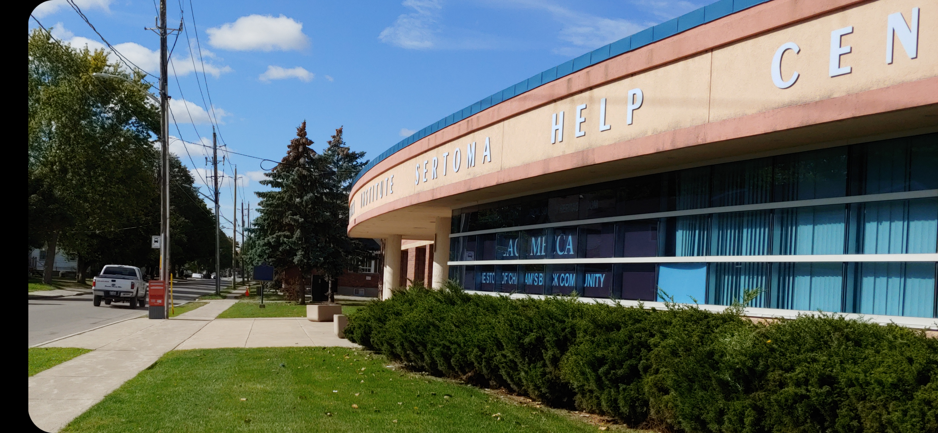 The image is of the WISH Centre, a multipurpose community space, which is also the central location for The Chatham-Kent Black Historical Society. It is in this building where the museum's collection is displayed. The WISH Centre also marks the official landmark location-point for this project on the CKBHS.