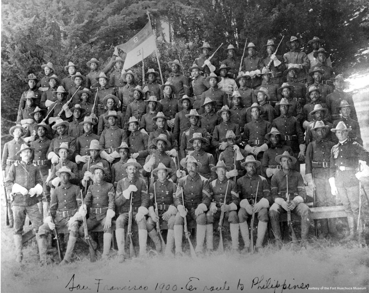 "9th and 10th Calvary ""Buffalo Soldiers"" pose at the Presidio"