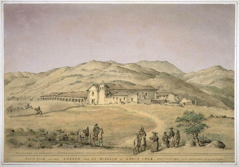 Edward Vischer's sketch of Santa Ines, circa 1865. Vischer was a German immigrant whose fascination with the California landscape birthed a rich collection of visuals depicting 19th Century California.