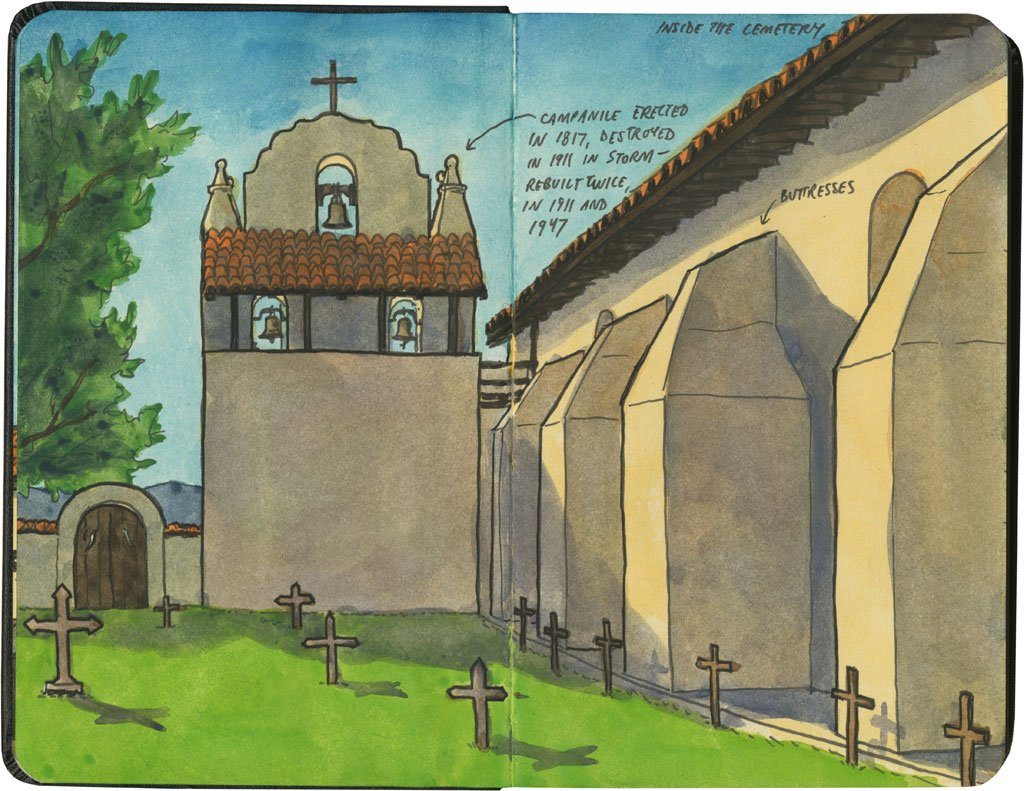 Artist Chandler O'Leary's modern sketch portrait of Santa Ines's graveyard and belltower. See below for link.