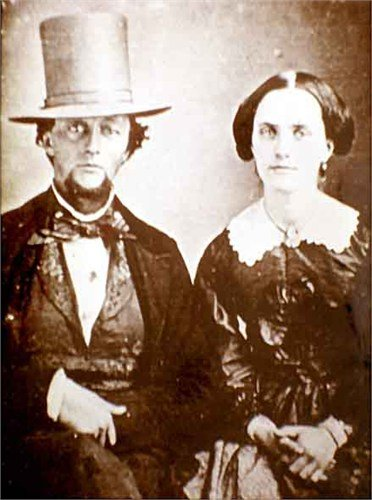 Joseph Chapman and wife Guadalupe. Married at Santa Ines in the 1820s, the Chapmans later moved to Los Angeles where Chapman became a prominent businessman involved in many important events in mid-1800s California. Phota ca. 1847.