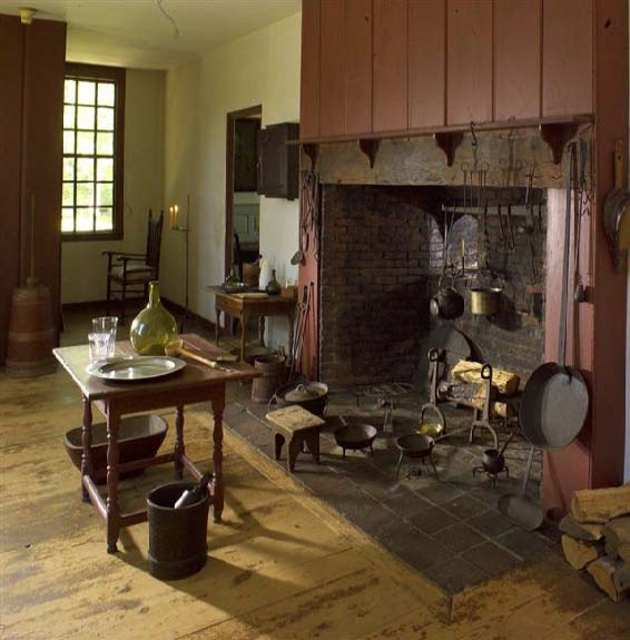 The Tate House's kitchen as it was in the 18th century
