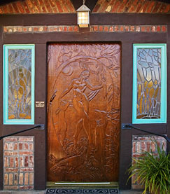 Door into museum. Decor and carvings done by Brandt-Erichsen