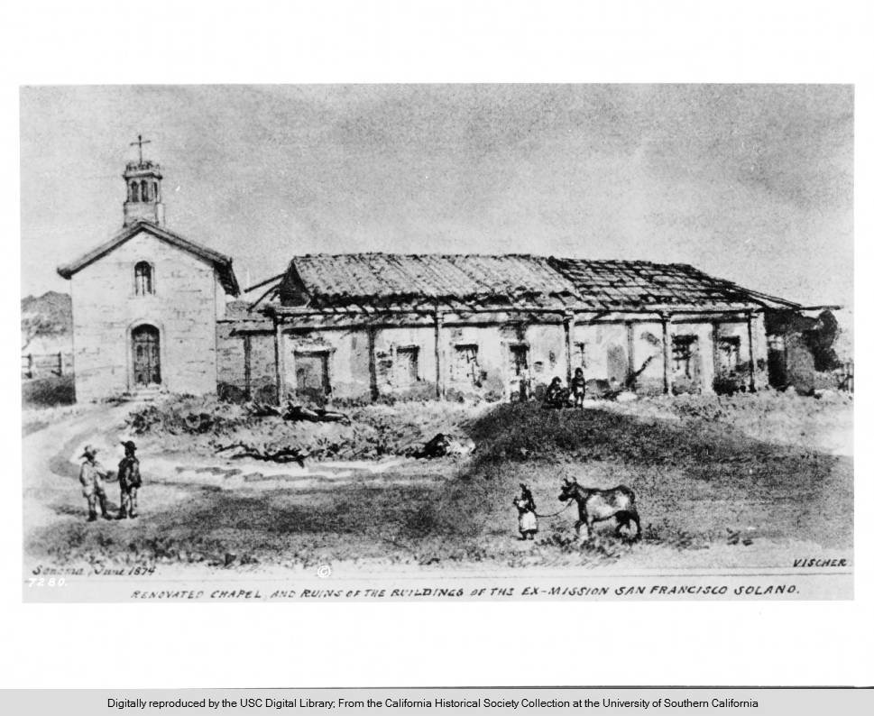 A photograph of a sketch by Edward Vischer in 1874. Vischer was one of the most prolific artists of the California missions in the 1800s, and one of the best visual resources for research on the topic (USC Digital Collections).