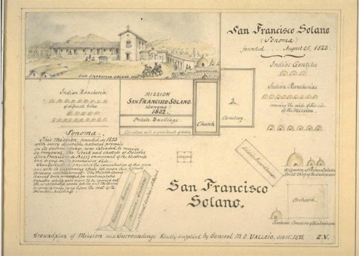 A layout of the Mission drawn in 1878.