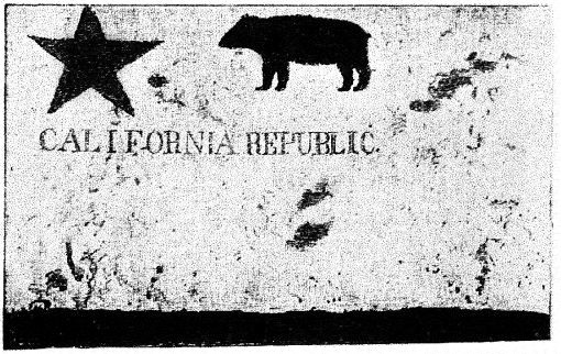 Replica of Bear Flag. Original destroyed in 1906 San Francisco earthquake and fire