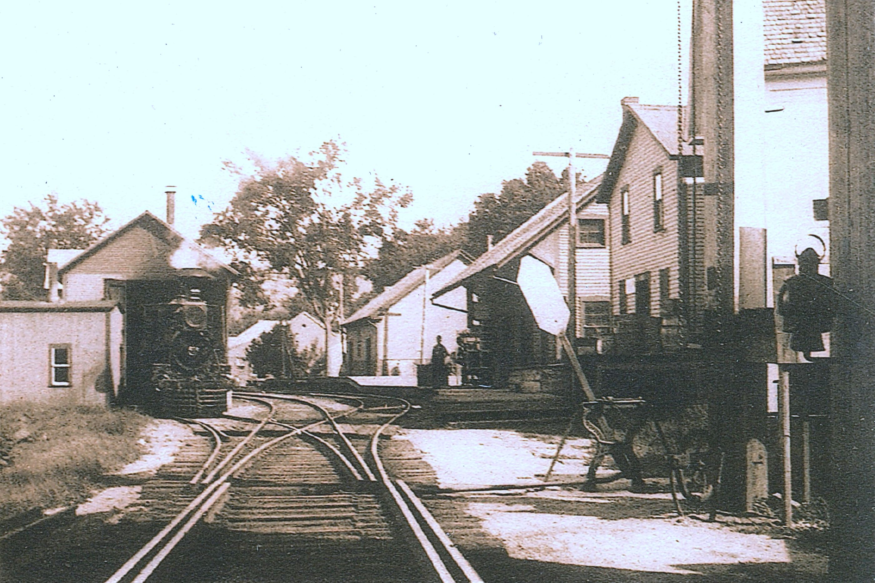 This undated photograph shows the Depot on the right, in about the middle of the photo.  Just beyond the Depot is the freight house.