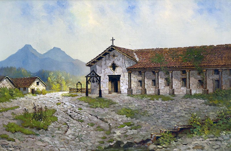 A contemporary painting of San Rafael. Since it was not originally conceived as a mission, San Rafael lacked a belltower. Its bells were instead hung on a wooden frame near the front entrance (CA Mission Foundation).