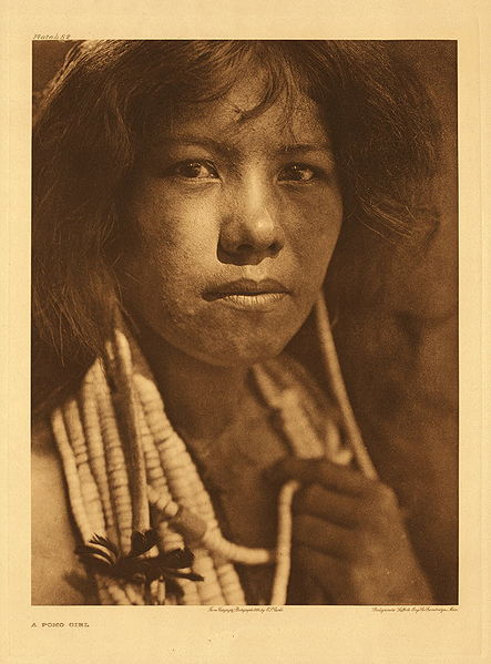 A woman of the Pomo tribe as photographed by Edward S. Curtis in 1924. The Pomo and Miwok peoples lived near the mission and comprised most of San Rafael's neophytes.