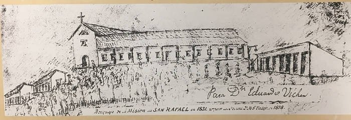 General Mariano Vallejo's 1878 sketch of the Mission as it may have looked in 1831, and the most important visual source in creating the replica chapel of 1949 (Claremont Colleges).