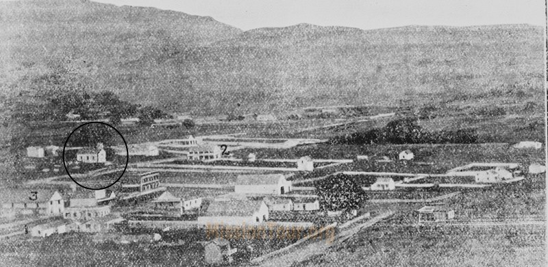 1862 photo of the San Rafael area in a local newspaper. The building in the red circle was the first parish church built over the ruin of the original mission.