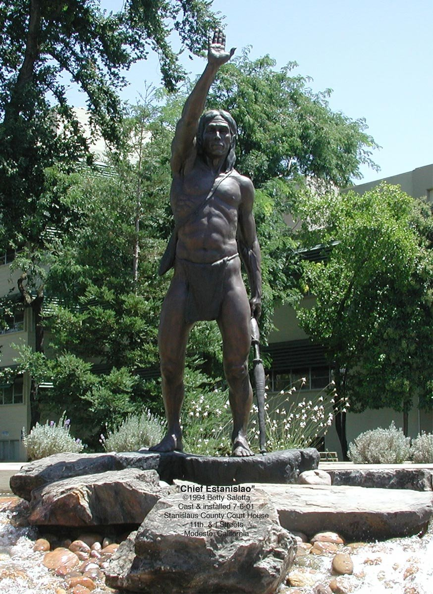 A 1994 statue of Estanislao in nearby Modesto, who led a cross-tribal alliance of roughly 4,000 California Native Americans against the Spanish. A former neophyte himself, he was eventually defeated in 1829.