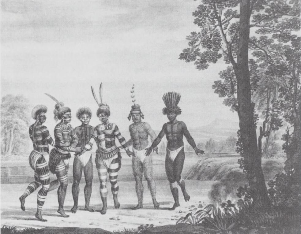 A sketch made in 1806 of Mission San Jose Natives during a ceremonial dance, as drawn by German explorer Georg Heinrich von Langsdorff (courtesy of the Bancroft Library).