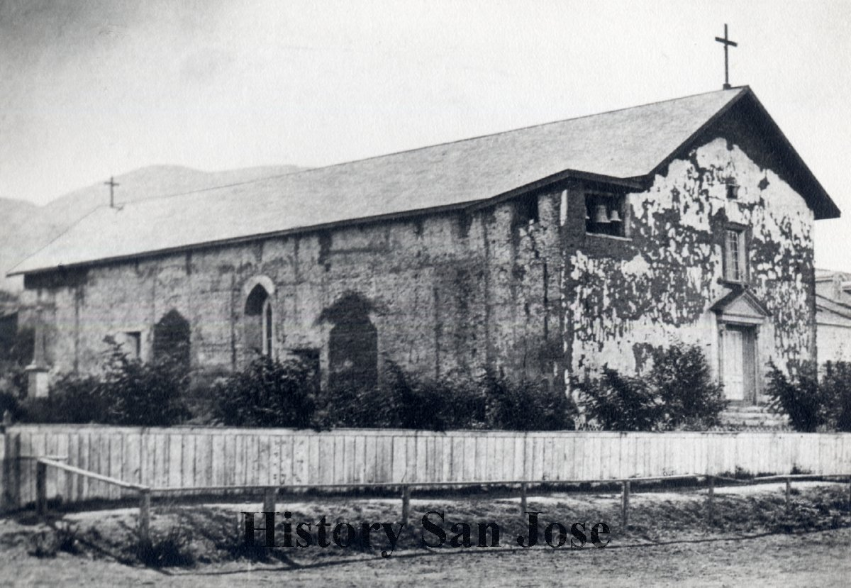 Another view of the Mission's chapel sometime before the 1868 earthquake. Much of the whitewash on the walls has been lost (HistorySanJose.org)