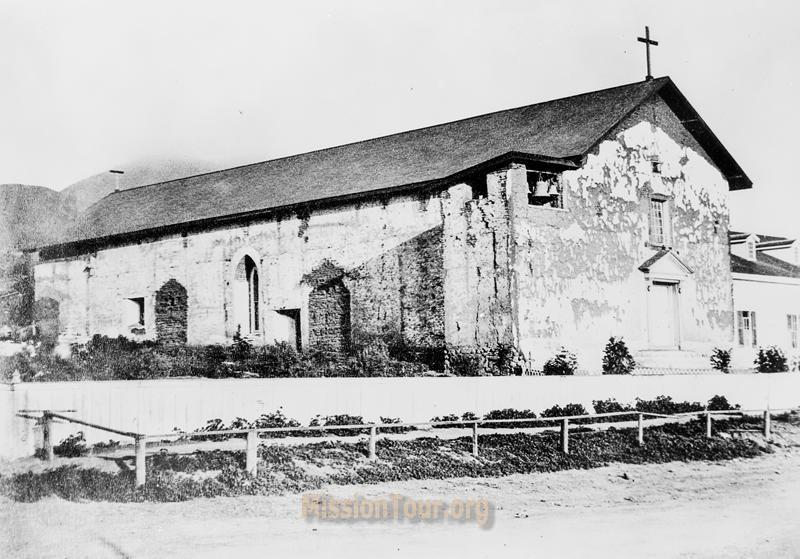 Mission San Jose in early 1860s, before the devastating earthquake that destroyed the original adobe chapel. It would be over a century before the present-day replica was constructed.