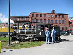 Locomotive No. 4 sitting outside the museum