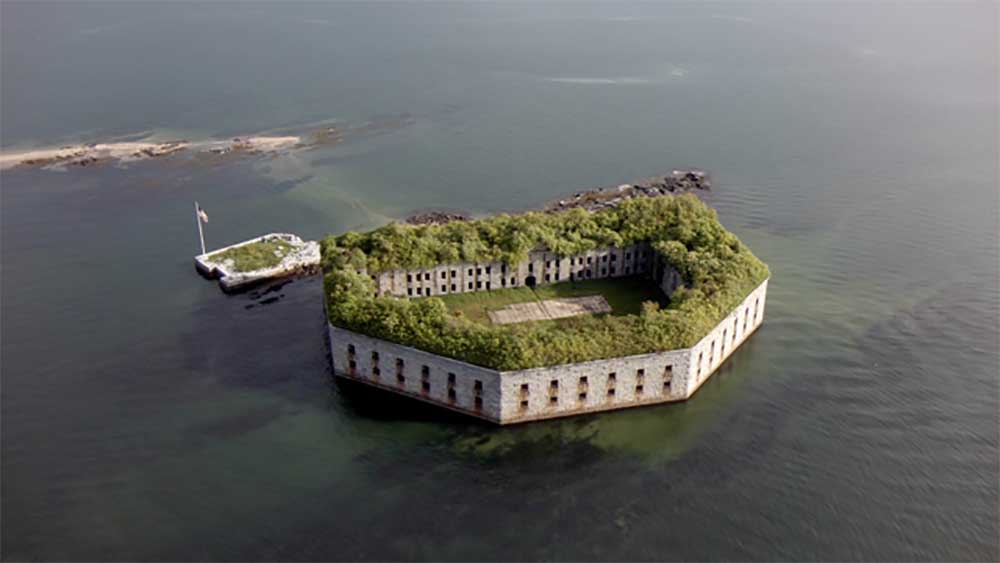 Aerial view of Fort Gorges