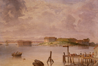 Fort Scammel and Fort Gorges, Maine by Seth Eastman (1872)